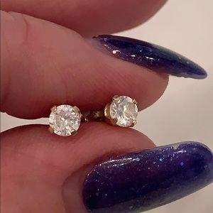 14k solid yellow gold cz stud earrings